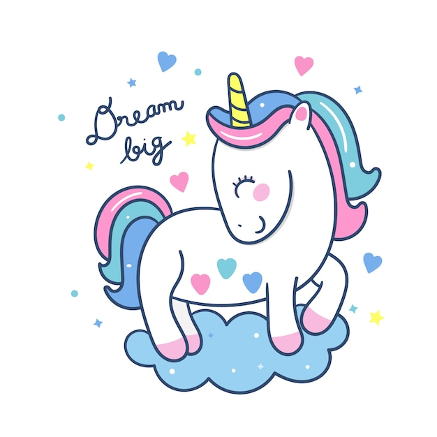 Cute unicorn cartoon dream big series hand drawn style Premium Vector