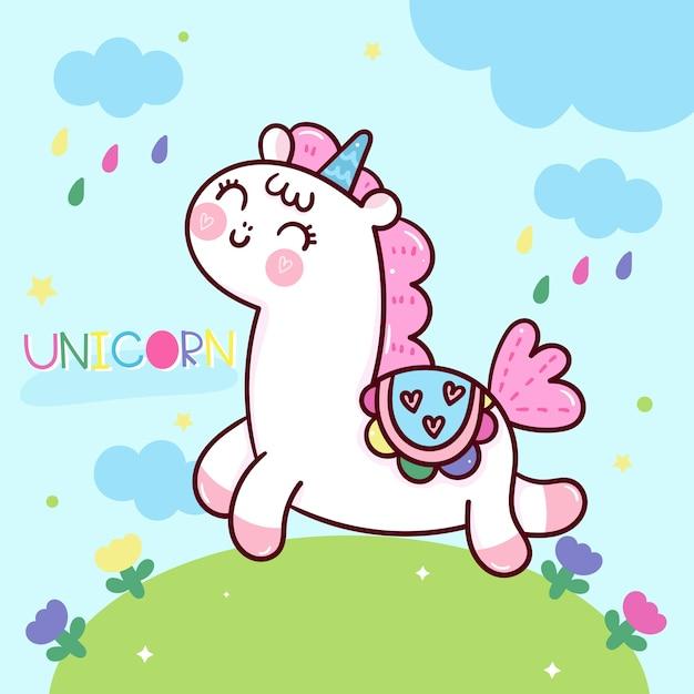Cute unicorn cartoon kawaii animal with sweet background Premium Vector