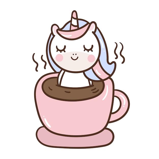 Cute unicorn cartoon relax in coffee cup Premium Vector