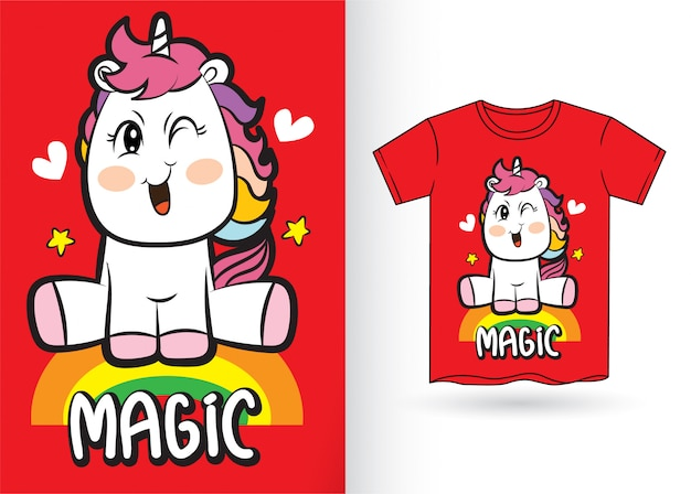Cute unicorn cartoon for t shirt Premium Vector