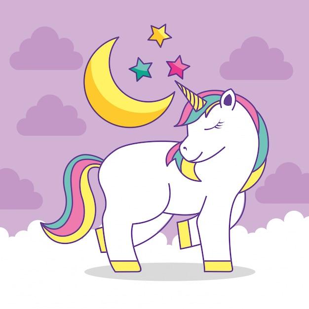 Cute unicorn cartoon Premium Vector