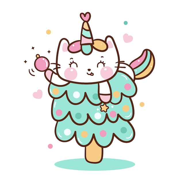 Cute unicorn cat vector on christmas tree Premium Vector