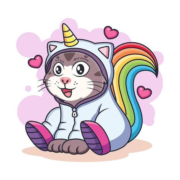 Cute unicorn cat  with love. animal fantasy icon concept isolated premium . Premium Vector