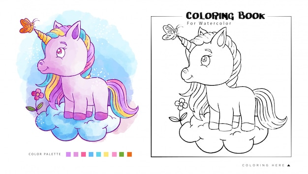 Cute unicorn on the cloud with butterfly watercolor coloring book Premium Vector