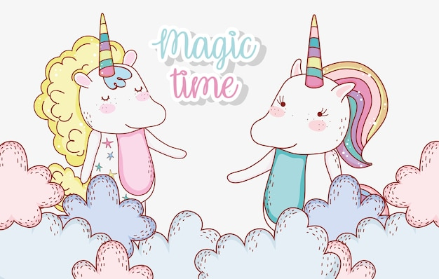 Cute unicorn couple animal in the clouds Premium Vector