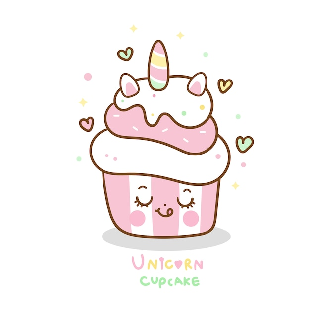 Cute unicorn cupcake cartoon pastel color Premium Vector