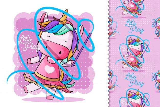 Cute unicorn dancing ballet Premium Vector