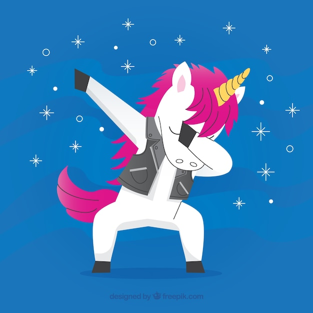 Cute unicorn doing dabbing movement Free Vector