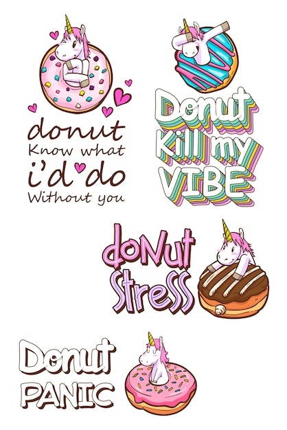 Cute unicorn and donuts quotes Vector   Premium Download