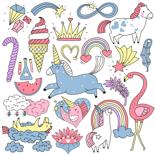 Cute unicorn and fairy elements colorful doodle set Free Vector