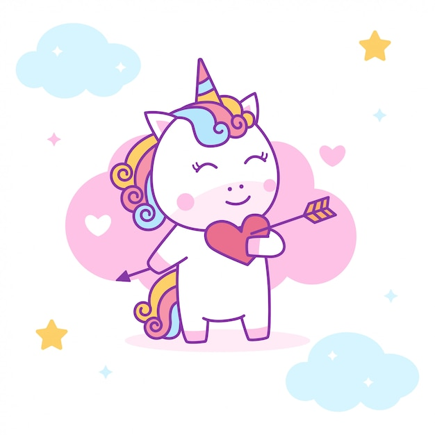 Cute unicorn falling in love Premium Vector