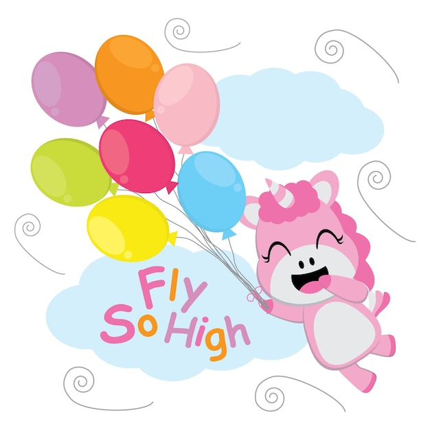 cute unicorn flies with colorful balloons vector cartoon kid