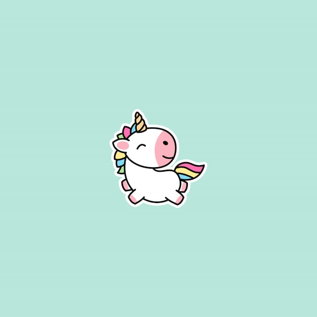 Cute unicorn flying cartoon icon Premium Vector