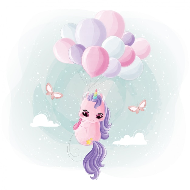 Cute unicorn flying with balloons Premium Vector
