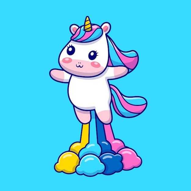 Cute unicorn flying with rainbow cartoon icon illustration. Free Vector