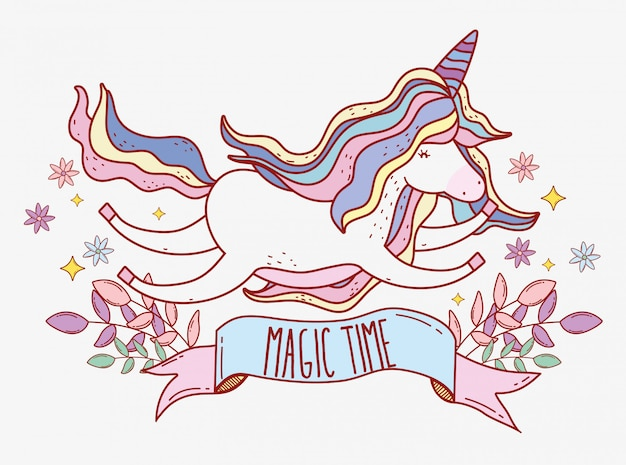 Cute unicorn flying with stars and plants leaves Premium Vector