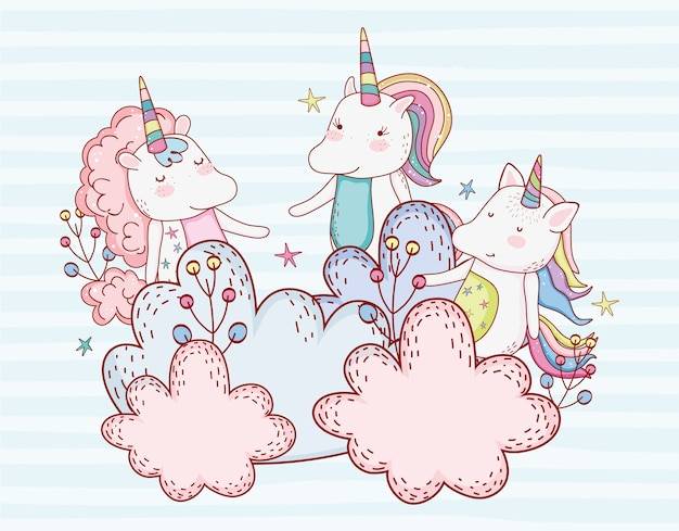 Cute unicorn friends with plants in the clouds Premium Vector