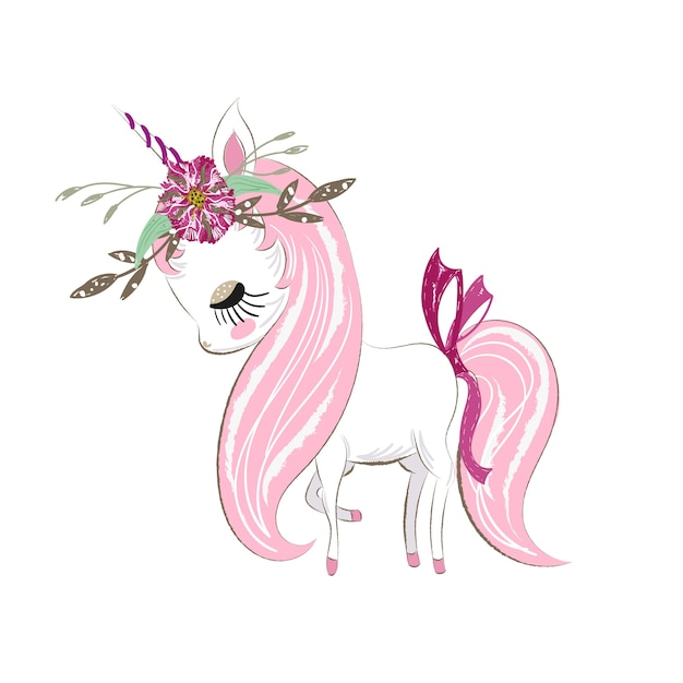 cute unicorn girl cartoon hand drawn vector premium download