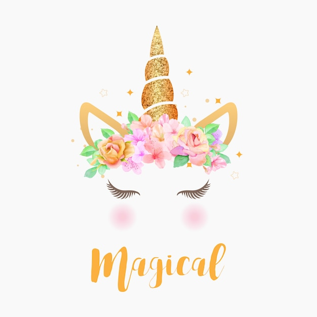 Premium Vector Cute Unicorn Graphic With Flower Wreath And Gold Glitter