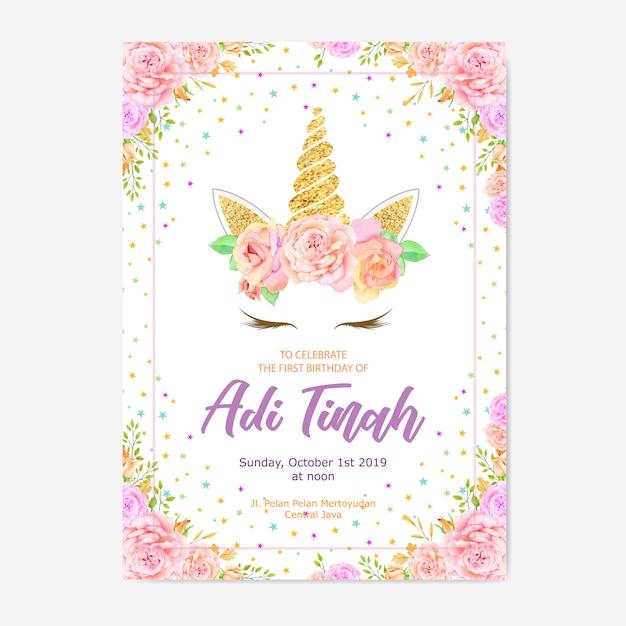 Cute unicorn graphic with flower wreath Premium Vector
