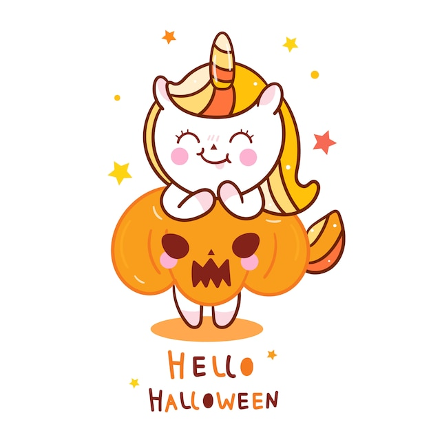 Cute unicorn halloween with pumpkin cartoon Premium Vector