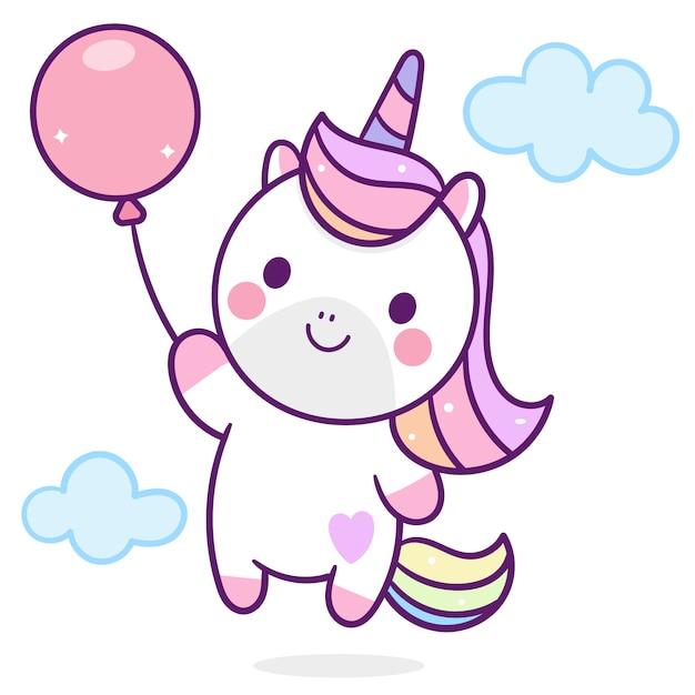 Cute unicorn holding balloon Premium Vector