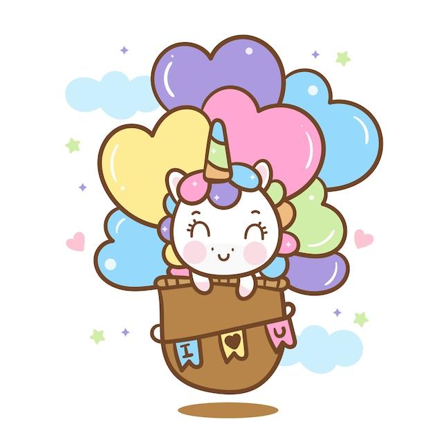 Cute unicorn  on hot air balloon Premium Vector