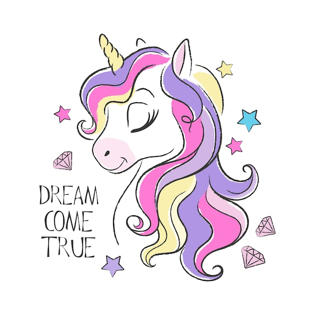 Cute unicorn illustration and quote Premium Vector