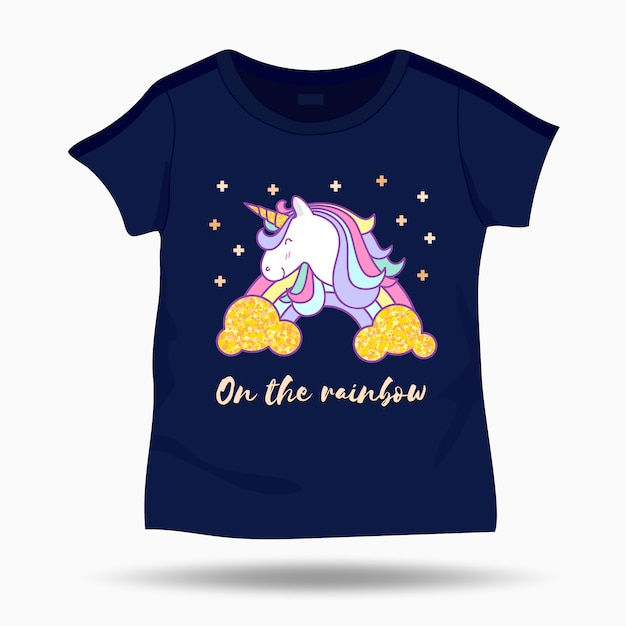 Cute unicorn illustration on t shirt kids template Premium Vector