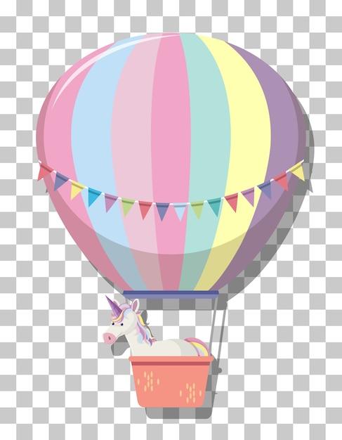 透明な背景に分離されたレインボーパステル熱気球のかわいいユニコーン Premiumベクター