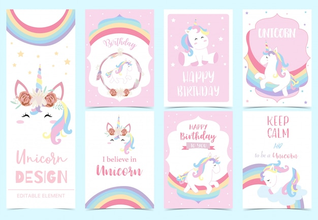 Cute unicorn invitation for kid Premium Vector