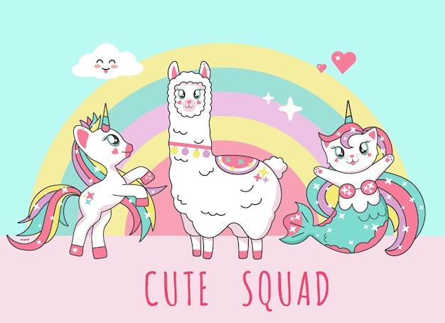 Милый единорог, лама альпака, кошка-русалка, фламинго и надпись отряд единорогов Premium векторы