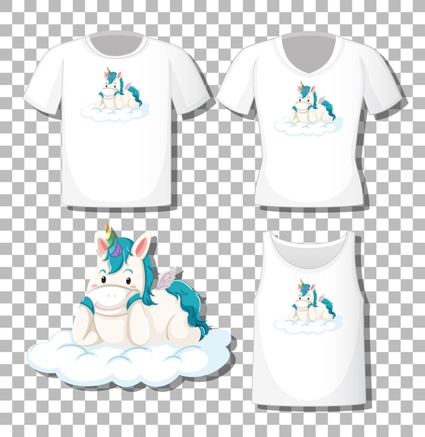 Cute unicorn lay on the cloud cartoon character with set of different shirts isolated on transparent background Free Vector