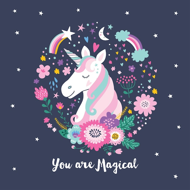 Cute unicorn. magical unicorn. Premium Vector