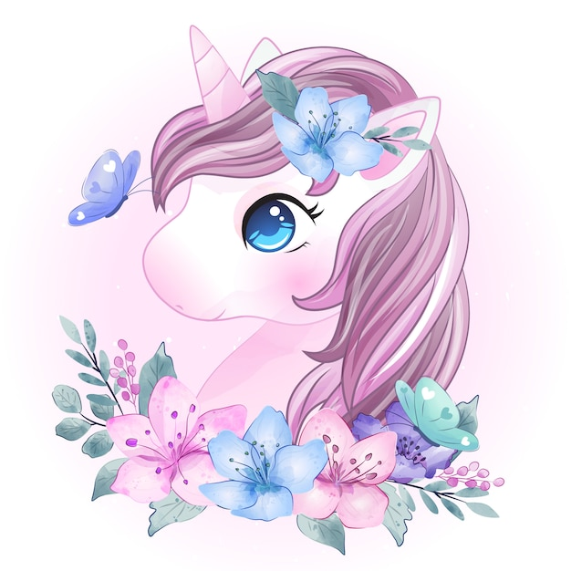 Cute unicorn mother and baby Premium Vector
