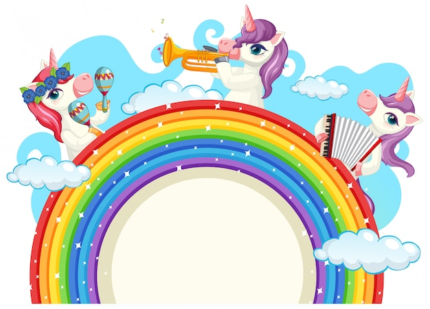 Cute unicorn musical band Free Vector