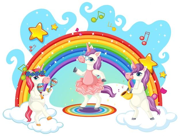 Simpatica banda musicale di unicorno Vettore gratuito