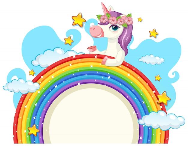 虹の上のかわいいユニコーン 無料ベクター