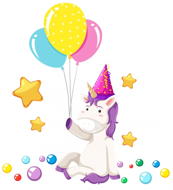 Cute unicorn party scene Free Vector