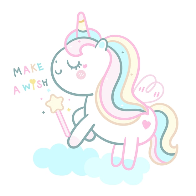 Cute unicorn  pastel holding magic wand Premium Vector