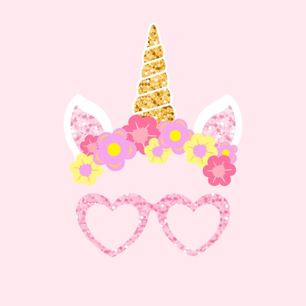 Cute unicorn photo booth party props vector Free Vector