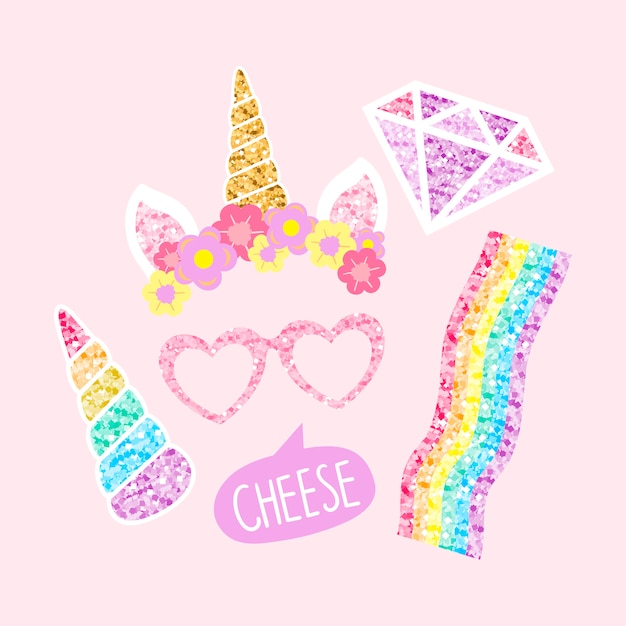 Cute unicorn photo booth party props Free Vector