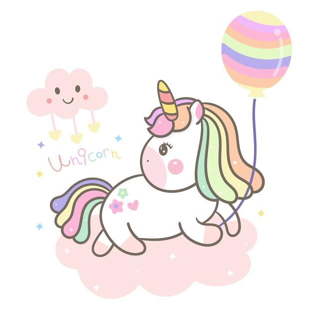 Cute unicorn, pony holding balloon Premium Vector