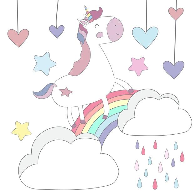 Cute unicorn postcard Premium Vector