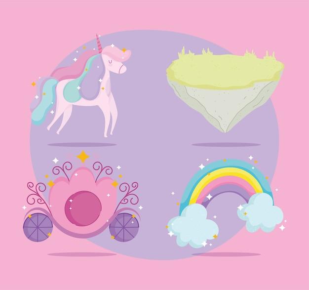 Милый единорог радуга принцесса перевозки и наземные значки Premium векторы