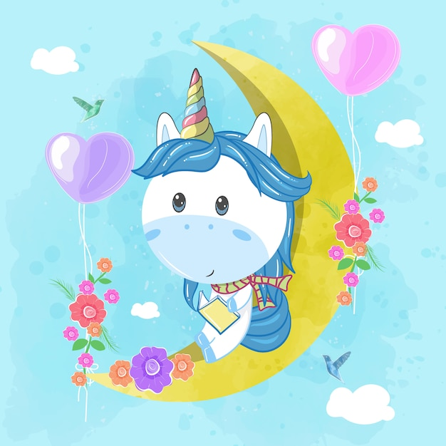 Cute unicorn read a book on the moon Premium Vector