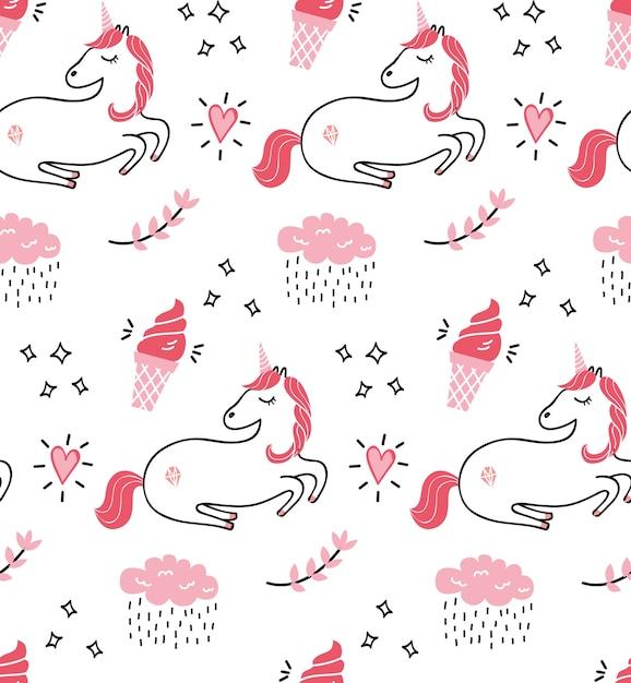 Cute unicorn seamless pattern Premium Vector
