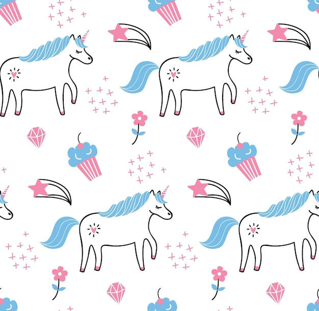 Cute unicorn seamless pattern Premium Vector