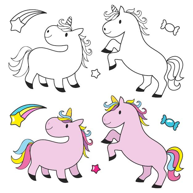 Cute unicorn set for kids coloring book Premium Vector