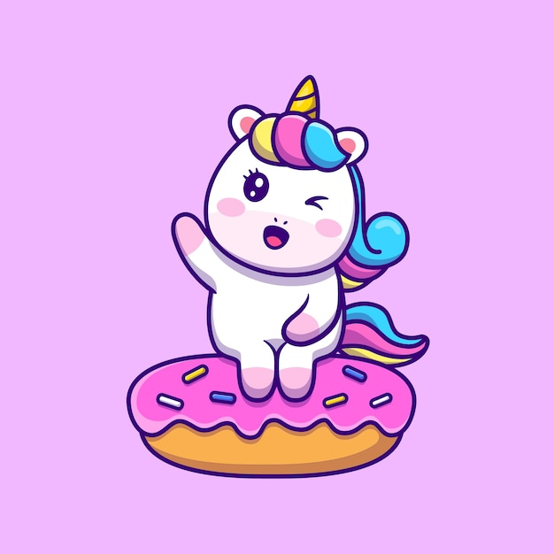 Cute unicorn sitting on doughnut cartoon vector icon illustration. Free Vector